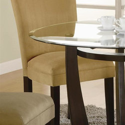 Coaster - Bloomfield 19 in. Parson Side Chair - Set of - Choose Upholstery: TerracottaSet of 2. Contemporary style. High sleek curved back. Square tapered legs. Durable microfiber fabric plush padded seat and back upholstery. Made from wood. Legs in rich dark cappuccino finish. 23.5 in. W x 19 in. D x 38 in. H. WarrantyThis beautiful parson style dining side chair will be a lovely addition to your contemporary dining room. The Bloomfield will give your contemporary dining and entertainment room a bold update. The Bloomfield is a great option if you are looking for Contemporary furniture in the area.