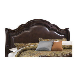 """A.R.T. - Coronado Uphostered Headboard - This beautiful bed is the signature bed of the Coronado Collection. Supple hand stitched leather on the headboard is surrounded by decorative, individually applied Nailhead trim. The top rails are exquisitely shaped and blend in harmoniously with the beds overall shape. The footboard features rustic walnut panels that complement the rich leather headboard. The shaped posts offer the time-honored scroll design of a classic sleigh bed. Features: -Coronado collection. -Rustic Walnut finish. -Material: Sturdy Radiate solids and beautiful veneer. -Beautiful hand rubbed """"Barcelona"""" finish. -Bolt on rails ensure a strong and sturdy bed. -Supple hand stitched leather headboard panel. -Individual Nailhead trim. Dimensions: -Queen: 65"""" H x 67"""" W x 11"""" D, 77 lbs. -King: 68"""" H x 83"""" W x 11"""" D, 99 lbs."""
