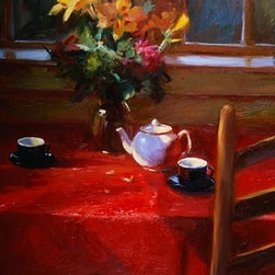 Wallmonkeys Wall Decals - Fine Art Murals Flowers and Teapot on Red by Pam Ingalls  - 42 Inches H - Easy to apply - simply peel and stick!