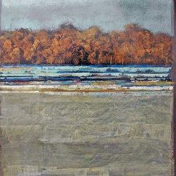 """Singleline Horizon Series"" by Fiona Hoop - ""Singleline Horizon Series"" by Fiona Hoop. Type: Painting on Board, Medium: Acrylic, Style: Transitional, Landscape, Size: 34″H x 26″W."
