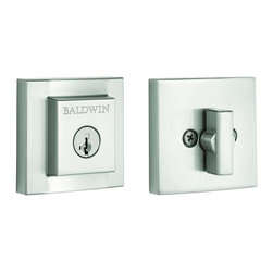 Baldwin Hardware - Prestige Spyglass Square Sc Deadbolt Featuring Smartkey in Satin Nickel - Baldwin is taking door hardware to the next level. Our new Spyglass family offers affordable luxury with effortless style. The stepped design of the deadbolt adds a modern elegance to any contemporary or transitional door.