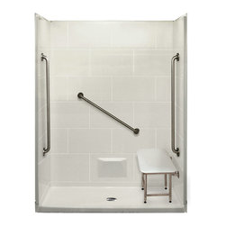Ella's Bubbles - Plus 36 5 Piece ADA Certified Shower Kit White Center Drain - The Ella ADA Certified Plus 36 Barrier Free, Roll In 62 inch x 32 inch Shower is manufactured using premium marine grade gel coat fiberglass which creates a smooth, beautiful, long lasting, anti-slip shower surface. Ella Plus 36 Barrier Free, Roll In Showers are constructed using wood and steel reinforced walls providing flexibility for seat and grab bar custom installation. The integral self-locking aluminum Pin and Slot System connects shower walls and the pre-leveled shower base to allow for easy front side installation. Once the multi-piece unit is assembled the precision fit seams become grout lines which can be nicely finished with caulk. Ella Plus 36 Barrier Free, Roll In Shower comes with three (3) 36 inch satin finish straight stainless steel grab bars (not installed to allow for custom positioning), a four legged fold-up seat, a textured slip resistant Grip Sure floor, a collapsible white rubber dam which allows for easy wheelchair roll over into the shower stall and keeps water inside the shower. The  Plus 36 Package features a center, left or right drain position with optional integrated, molded soap ledges on the back panel, color selection (white, bone or biscuit), and a 2 inch chrome shower floor drain with friction seal. The Ella Plus 36 Barrier Free, Roll In Shower Base is engineered to allow for above the floor installation with a steel reinforced beveled threshold for wheelchair entry without the need for recess or a ramp.