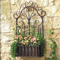 Ballard Designs - La Reine Wall Planter - Its delicate scrollwork and twisted rails were inspired by an antique garden gate. Handcrafted of wrought iron with removable metal planter. Weather resistant coating for use indoors or outdoors.