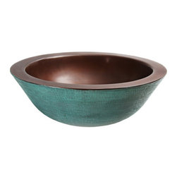 Sinks - 15 Round Verde Patina Vessel Bath Sink in a round double thick top mount lavatory vessel for the bath with Zen Hammering in Verde patina on the outside of the bowl and Smooth Antique patina on the inside of the bowl.
