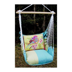 Magnolia Casual - Magnolia Casual Lady Birds Hammock Chair and Pillow Set Multicolor - MMLBF1-SP - Shop for Hammocks from Hayneedle.com! Sink into the comfort of this Magnolia Casual Hammock Chair and Pillow Set. The weather- fade- and-mildew-resistant 100% polyester Sundure fabric has the luxurious feel of cotton making this single-layered hammock more breathable than quilted hammocks. It comes with a matching seat pillow and a coordinating back pillow to envelop you in such comfort that you'll find yourself lingering outdoors way longer than usual! A matching tote bag makes it super easy to carry this hammock with you when you go on vacations. Hanging hardware is not included as there are many ways and places to enjoy this chair. A pamphlet with suggestions and instructions is included. If you are someone who revels in life's simple pleasures you'll surely enjoy soaking in the summer sunshine cuddled up in this hammock chair. Features: Weight capacity: 250 lbs. Spreader bar width: 33 inches Approximate height from seat to top of ring is 4 feet Seat pillow measures 18L x 18W inches Back pillow measures 24L x 19W inches Tote measures 16L x 24 W inches (not including the straps) Wood spreader bar is attached to 100% polyester rope Pillow insert is 100% polyester Indoor/outdoor is weather resistant fade resistant and mildew resistant Zipper closure on pillow for easy cover removal Pillow covers are machine washable About Magnolia CasualMagnolia Casual sweeps you off your feet and into the relaxation zone by offering a wide variety of hammocks and swings along with complementary comfortable pillows manufactured from fade- and mildew-resistant polyester that holds up well to outdoor use. Based in Pascagoula Miss. Magnolia Casual's Sundure Fabrics are colorful and the hammocks and swings are built for durability and years of enjoyment. The company also offers shower and hamper curtains that will brighten your home.