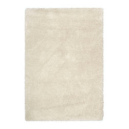 """Nourison - Nourison Escape STER1 3'11"""" x 5'11"""" Bone Area Rug 22920 - Soft, pale shades of bone create gorgeous effects of shadow and light in this thick woven shag. Immensely sensory, it evokes the cool elegance of mid-century modern while welcoming bare feet and a relaxed lifestyle."""