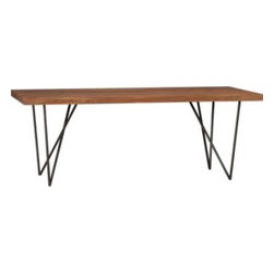 Dylan Dining Table, Iron - Love that this table adds a litte more interest with a V shaped leg. It's modern, eclectic, and industrial all wrapped up into one great table! Would love to see this paired with rustic barn benches.