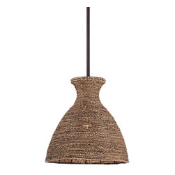 "Pacific Coast - Windsun 12"" Wide Rattan Shade Pendant - Bring the relaxing feel of palm trees to your home with this rattan shade pendant light featuring a rich bronze finish. Asian influences, this pendant light adds a breezy feel to natural or international inspired decor settings. Great above kitchen nook dining areas and more. A bronze finish completes the look."