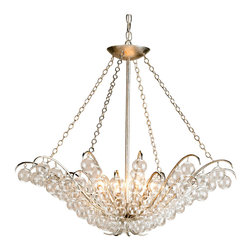 """Kathy Kuo Home - Modern Glass Ball Bubble 4 light Chandelier - This contemporary glass bauble chandelier delivers a distinct modern effect, elegantly illuminated by four bulbs.  A silver leaf finish on the gently curved wrought iron """"branches"""" creates reflection and depth while supporting this beautiful interpretation of a shimmering glass bauble chandelier."""