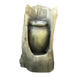 "Sunnydaze Decor - Stump Urn Fountain w/LED Light - Long lasting LED light in urn. Polystone Construction: Polystone has a significant weight, a porcelain like feel to the touch, and an incredible ability to capture the most minute detail, making it unsurpassed in collectible manufacturing materials. Polystone is a compound made up largely of polyurethane resin mixed with powdered stone additives that give it added weight and the porcelain or ""stone-like"" feel that resulted in the materials name itself. Polystone is durable and highly effective at maintaining a sharp paint finish."
