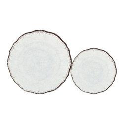 Le Cadeaux - Antiqua Red 16 Plate Melamine Dinnerware Set, White - Triple strength melamine - not microwave safe but dishwasher safe.