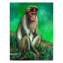 Custom Photo Factory - Monkey Canvas Wall Art - Monkey  Size: 20 Inches x 30 Inches . Ready to Hang on 1.5 Inch Thick Wooden Frame. 30 Day Money Back Guarantee. Made in America-Los Angeles, CA. High Quality, Archival Museum Grade Canvas. Will last 150 Plus Years Without Fading. High quality canvas art print using archival inks and museum grade canvas. Archival quality canvas print will last over 150 years without fading. Canvas reproduction comes in different sizes. Gallery-wrapped style: the entire print is wrapped around 1.5 inch thick wooden frame. We use the highest quality pine wood available. By purchasing this canvas art photo, you agree it's for personal use only and it's not for republication, re-transmission, reproduction or other use.