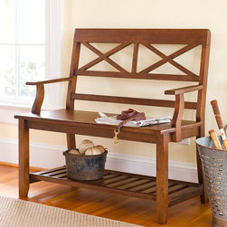Plow & Hearth - Cross-Back Bench - Crafted from durable mango wood with an attractive cross-back design, this bench looks lovely placed in the foyer, entryway or mudroom. Its lower shelf stores home essentials in easy reach for extra versatility.   38'' W x 37.5'' H x 18'' D Mango wood Assembly required Imported