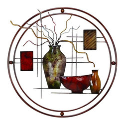 "Benzara - Metal Wall Decor Everyone Admires It - METAL WALL DECOR is an excellent anytime low priced wall decor upgrade option that is high in modern age decor fashion.; Material: Rust free premium grade metal alloy; Color: Burgundy , brown; Exhibits special liking for wall art; Classic wall decoration; Designed for elite class decor enthusiasts; Dimensions: 24""W x 22""H"