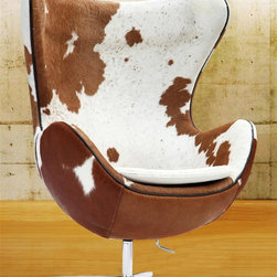 Fine Mod Imports - 43 in. Inner Swivel Chair - Contemporary style. Tilt lock. Molded fiber glass frame. Fire retardant polyurethane foam padding. Warranty: One year. Made from aluminum and pony cowhide leather. Brown and white color. Assembly required. 34 in. W x 31 in. D x 43 in. H