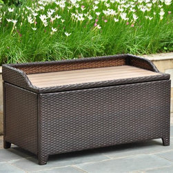 International Caravan - Outdoor Storage Bench in Chocolate Finish - Seats one person comfortably. Water resistant. Durable rust free frame. Made from wicker resin and aluminum frame. Assembly required. 40 in. W x 20 in. D x 20 in. H (40 lbs.)Perfect for storing towels or garden accessories. This is a perfect outdoor decorative for any outdoor setting. Easy to open for extra storage.