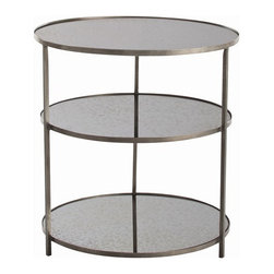 Arteriors Home - Arteriors Home Percy Zinc /Mirror Side Table - Arteriors Home 6682 - Arteriors Home 6682 - Add some luxury to your dcor with the Percy Zinc Side Table from Arteriors Home. Circular design side table has an zinc finished frame. Each of the three tiers of this design has a sheet of antique mirror glass which has a stylish, cloudy look. Great for a living area or bedroom - anywhere you want a little luxe style.