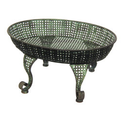 Oriental Furniture - Iron Table Tray Garden Stand - This timeless iron stand brings the classical design of a bygone era to the modern home or garden. Finished with a lush green patina for a charming antique accent, this stand is perfect as a centerpiece or standalone display.