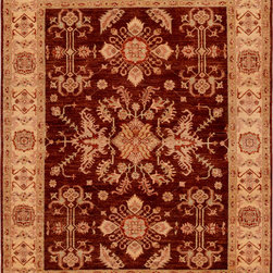 "ALRUG - Handmade Chocolate/Maroon Oriental Peshawar Rug 4' 11"" x 6' 4"" (ft) - This Afghan Peshawar design rug is hand-knotted with Wool on Cotton."