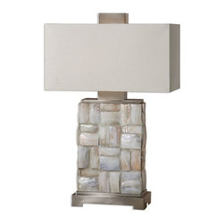 Uttermost - Calaveras Mother Of Pearl Lamp - Pieced mother of pearl tiles accented with brushed aluminum details.