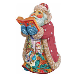"""Artistic Wood Carved Christmas Night Santa Claus Sculpture - Measures 6""""H x 5""""L x 4""""W and weighs 1 lb. G. DeBrekht fine art traditional, vintage style sculpted figures are delightful and imaginative. Each figurine is artistically hand-painted with detailed scenes including classic Christmas art, winter wonderlands and the true meaning of Christmas, nativity art. In the spirit of giving G.DeBrekht holiday decor makes beautiful collectible Christmas and holiday gifts to share with loved ones. Every G. DeBrekht holiday decoration is an original work of art sure to be cherished as a family tradition and treasured by future generations. Some items may have slight variations of the decoration on the decor due to the hand painted nature of the product. Decorating your home for Christmas is a special time for families. With G. DeBrekht holiday home decor and decorations you can choose your style and create a true holiday gallery of art for your family to enjoy."""