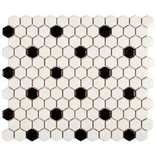Metro Hex 10-1/4 in. x 11-3/4 in. Matte White and Black Porcelain Mesh-Mounted M