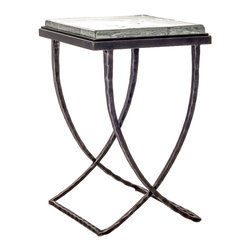 """Charleston Forge - Talmadge Drink Table, Charcoal, Glass - Classic lines and sophisticated style define the Talmadge Drink Table by Charleston Forge. With its swooping X-base design in hammered iron and thick glass top, it will certainly give your room a touch of luxury. The Talmadge is available in a myriad of high quality finishes to suit any decor. Place beside a favorite club chair or pair two flanking the sofa for a look you're sure to love. Table measures W 15"""" x D 15.5"""" x H 23.25""""."""