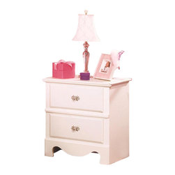 Standard Furniture - Standard Furniture Spring Rose 23 Inch Nightstand in White - Spring Rose Features a traditional look, inspired by classic European Victorian design. Wood products with simulated wood grain laminates. Group may contain some plastic parts. French dovetail. Roller side drawer guides. Dust proofing underneath protects items in drawers from up drafting dust. Clear colored knobs with fancy filigreed pattern back plates in a silver color finish. White pearlescent color finish creates lasting, attractive and easy-to-clean surfaces. Surfaces clean easily with a soft cloth.