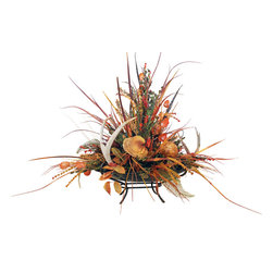 Southwestern Centerpiece with Deer Antlers - Southwestern Centerpiece Tray with Whitetail Antlers and Leaf Balls.