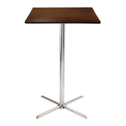 Winsome Wood - Kallie Square X-Base Pub Table - Laminated table top. Chrome legs. Made from composite wood and metal. Cappuccino finish. Assembly required. 23.62 in. L x 23.62 in. W x 40.35 in. HPerfect additional for your kitchen or game room.