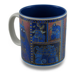 Zeckos - Laurel Burch Blue and Brown Indigo Cat Portrait Ceramic Coffee/Tea Mug - Cat lovers will enjoy waking up each morning with Laurel Burch sipping hot coffee or tea from this fabulous mug This ceramic mug features the 'Indigo Cat Portrait' design from her 'Fantastic Felines' collection featured in blue and brown with a complementing blue interior. This 3.75 inch tall, 3.5 inch diameter (9x8 cm) mug holds 14 ounces of your favorite beverage, and is microwave and dishwasher safe. It makes the perfect gift for collectors or fans of Laurel Burch art, and is a must-have piece for your own assortment