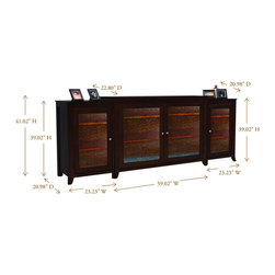 """Carmel TV Lift Cabinet With Side Cabinets For Flat Screen TV's Up To 55"""" - The Carmel TV Lift cabinet features crisp lines and a rich espresso finish just like our Monterey TV lift cabinet. This model features beautiful wavy glass on the front facing door panels making it a versatile entertainment center which compliments a variety of decorating tastes."""