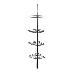 Zenith - Zenith 2114S Tension-Mount 4-Shelf Pole Shower Caddy in Chrome - Zenith 2114S Tension-Mount 4-Shelf Pole Shower Caddy in ChromeOrganize your shower with this rust-resistant sturdy corner caddy. Included are 4 large shelves to hold shampoo, conditioner, washcloths and more. It installs and adjusts easily without the need for tools.Zenith 2114S Tension-Mount 4-Shelf Pole Shower Caddy in Chrome, Features:&#149 Generous shelf space provides plenty of storage options