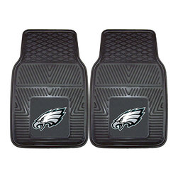 Fanmats - Fanmats Philadelphia Eagles 2-piece Vinyl Car Mats - A universal fit makes this two-piece mat set ideal for cars, trucks, SUVs and RVs. The officially licensed Philadelphia Eagles design in true team colors is permanently molded of vinyl for longevity.