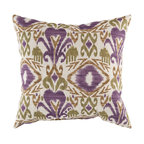 """Surya - Ikat Square Pillow ZZ-421 - 22"""" x 22"""" - Trendy and traditional blend together perfectly in this pristine pillow, destined to be a centerpiece in your home. Featuring an ikat style pattern, this piece, with gallant green, purple, and brown coloring, offers a fun, yet functional solution to updating your decor. This pillow provides a reliable and affordable solution to updating your indoor or outdoor decor."""