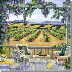 "Artwork On Tile - Walker Vineyard Landscape Ceramic Tile Mural Backsplash 18"" x 18"" - POV-CWA006 - * 18"" w x 18"" h x .25"" Ceramic Tile Mural on Architectural Grade, 6"" Tile w/Satin Finish"