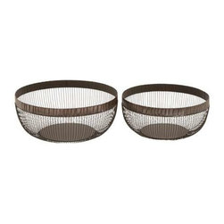 "Benzara - Basket Complements Traditional and Modern Decor - Set of 2 - Basket Complements Traditional and Modern Decor - Set of 2. This Set of 2 metal Baskets is sure to give your home a revamped look. Great to enhance the decor, the best part of these sturdy metal Baskets is that they can withstand the extreme conditions of weather that your furniture is exposed to when kept in the garden. It comes with following dimensions: 15""W x 15""D x 7""H. 13""W x 13""D x 7""H."
