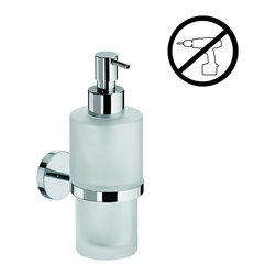 WS Bath Collections - Duemila Frosted Glass Soap Dispenser - Duemila by WS Bath Collections Holder in Polished Chrome with Soap Dish/ Soap Dispenser In Frosted Glass, Wall Installation, Made in Italy