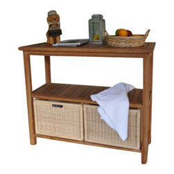 Anderson Teak - Wicker Basket for Towel Console TB-4720 (1 Pair) - Wicker Basket for Towel Console SPA-4720