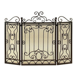 Metal Fire Screen For Complete Safety At Fire Place - Do have passion for decoration? If yes, why do you limit this hobby just to the drawing room or garden? Some other spots too in the house need your attention. Bring home the best of decorative protection and privacy screens to bring completeness to existing decor. Just have a look over Metal FIRE SCREEN; it is ultimate in its category. * Size : 26.00 High 40.00 Wide 2.50 Deep (Inches) (min. aprox. dimensions) * Material : Rust free metal alloy * Color : Antique brown * Complete safety at fire place; Exhibits passion for house warming; Recent arrival yet discounted