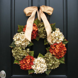 Fall Wreath, Hydrangeas by Two Inspire You - I love this simple yet beautiful hydrangea wreath. The ribbon is a perfect fit.