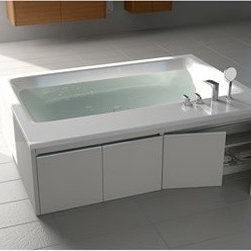 """Aquatica - Aquatica Pool Duo-Wht Freestanding Lucite with Microban Acrylic Tub, Wood Panel - Pool Duo - the perfect tub for two is the center of attraction of the bathroom with its soft contours and concealed shelf unit. Easy to install and uninstall.Aquatica's bathtubs offer modern glamour at affordable prices. The Aquatica line is diverse enough to encompass both bathtubs with classical elegance that match the style of your bath and bathtub models that are distinctive and unique as the centerpiece of your remodel.FeaturesStriking upscale modern designFreestanding constructionSolid, one-piece construction for safety and durabilityExtra deep, full-body soakErgonomic design forms to the body's shape for ultimate comfortQuick and easy installationConstructed of 8mm thick Lucite with Microban AcrylicLucite acrylic has one of the hardest surfaces of any acrylic, yet it is warm to the touch, easy to clean, and resistant to a wide range of household chemicals and cosmetic productsLucite acrylic provides for excellent heat retention as well as a hygienic, high-gloss, long-lasting finishMicroban is an antibacterial protection that is built into the acrylic itself, ensuring that this performance feature runs right through the productLucite with Microban is safe and effective in reducing the growth of bacteria, exists for the lifetime of the bathtub, and cannot be cleaned awayHigh gloss white surfaceColor is consistent throughout its thickness - not painted onColor will not fade or lose its brilliance overtime, even after years of cleaningPreinstalled cable drive pop up and waste-overflow fitting includedDesigned for one or two person bathingNon-porous surface for easy cleaning and sanitizingBuilt-in metal base frame and adjustable height metal legsChrome plated drain10 Year Limited WarrantyCode compliant with American standard 1.5"""" waste outletsSpecificationsOverall Dimensions: 74.75 in. L X 55 in. W X 23.5 in. HDepth to Overflow Drain: 14.5 in.Interior Depth: 18 in.Interior"""