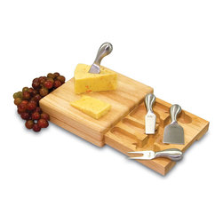 "Picnic Time - Festiva Mini Cutting Block - The Festiva by Picnic Time is a mini cutting block, perfect for cutting cheese or fine foods. It's square in shape, measures 7.9"" x 8.7"" x 2"", and is made of eco-friendly rubberwood, a hardwood known for its rich grain and durability. Below the cutting board is a drawer-style storage compartment that houses four brushed stainless steel cheese tools. The tools include: 1 blunt-nosed soft cheese knife, 1 hard cheese knife/spreader, 1 chisel knife (for hard crumbly cheese), and 1 cheese fork all with hollow handles that fit nicely in your hand. The compact design makes it an easy-to-store and travel item that's perfect for the cheese connoisseur. Includes: 1 blunt-nosed soft cheese knife, 1 hard cheese knife/spreader, 1 crumbly cheese knife, and 1 cheese fork"