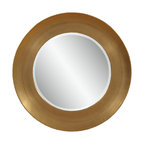 Bassett Mirror - Bassett Mirror Oz Wall Mirror - Subtly shimmering gold leaf surrounds this round wall mirror in a bold band of color. The soft elegance of this wall mirror would go well with a contemporary or even transitional hallway, entryway or living room.