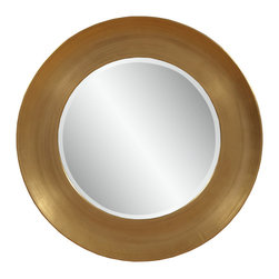 Bassett Mirror - Oz Wall Mirror - Subtly shimmering gold leaf surrounds this round wall mirror in a bold band of color. The soft elegance of this wall mirror would go well with a contemporary or even transitional hallway, entryway or living room.