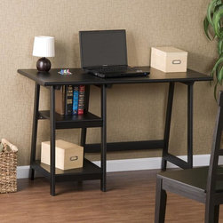 Upton Home - A-frame Black Hardwood Desk - This black writing desk provides a stylish accent piece while making room for a small office space. The desk is constructed of Asian hardwoods topped with black veneers, and features two shelves for computer accessories or other storage.
