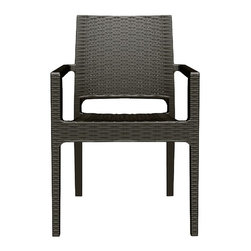 Siesta - Ibiza Resin Wickerlook Dining Arm Chair (set Of 2) - *Made from commercial grade resin with gas injection molded legs, with non-skid rubber caps. Wickerlook resin weave design. Not Woven, will not unravel.
