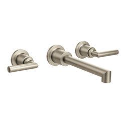 Moen - Moen TS43003BN Arris Brushed Nickel Two-Handle Wall Mount Bathroom Faucet - Moen TS43003BN Arris Brushed Nickel two handle Wall Mount Bathroom Faucet. Arris Accessories offer sharp angles and tubular lines that dominate each piece in this modern collection, not just with style but with functional products also. This Brushed Nickel two handle Wall Mount Bathroom Faucet brings the warm feel of stainless into your bath, and completes the overall look and design of your bathroom. Additional features include; WaterSense, conserving water without compromising performance, and a Moen limited lifetime warranty.