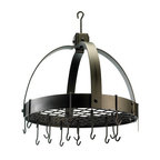 Old Dutch International - Dome Oiled Bronze Pot Rack w/Grid & 16 Hooks - Whether you're a short-order cook or an iron chef, this pot rack ensures that all your tools of the trade are ready and waiting. Ideal for compact kitchens, it's made of heavy-gauge metal and features 16 hooks.