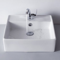 Kraus - Kraus White Square Ceramic Sink and Typhon Basin Faucet - Add a touch of elegance to your bathroom with a ceramic sink combo from Kraus